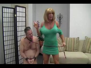 Brawny mature and her submissive cuckold