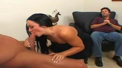 Hubby watches as another man satisfies his wife